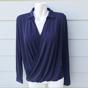 Ann Taylor Long Sleeve Drape Blouse